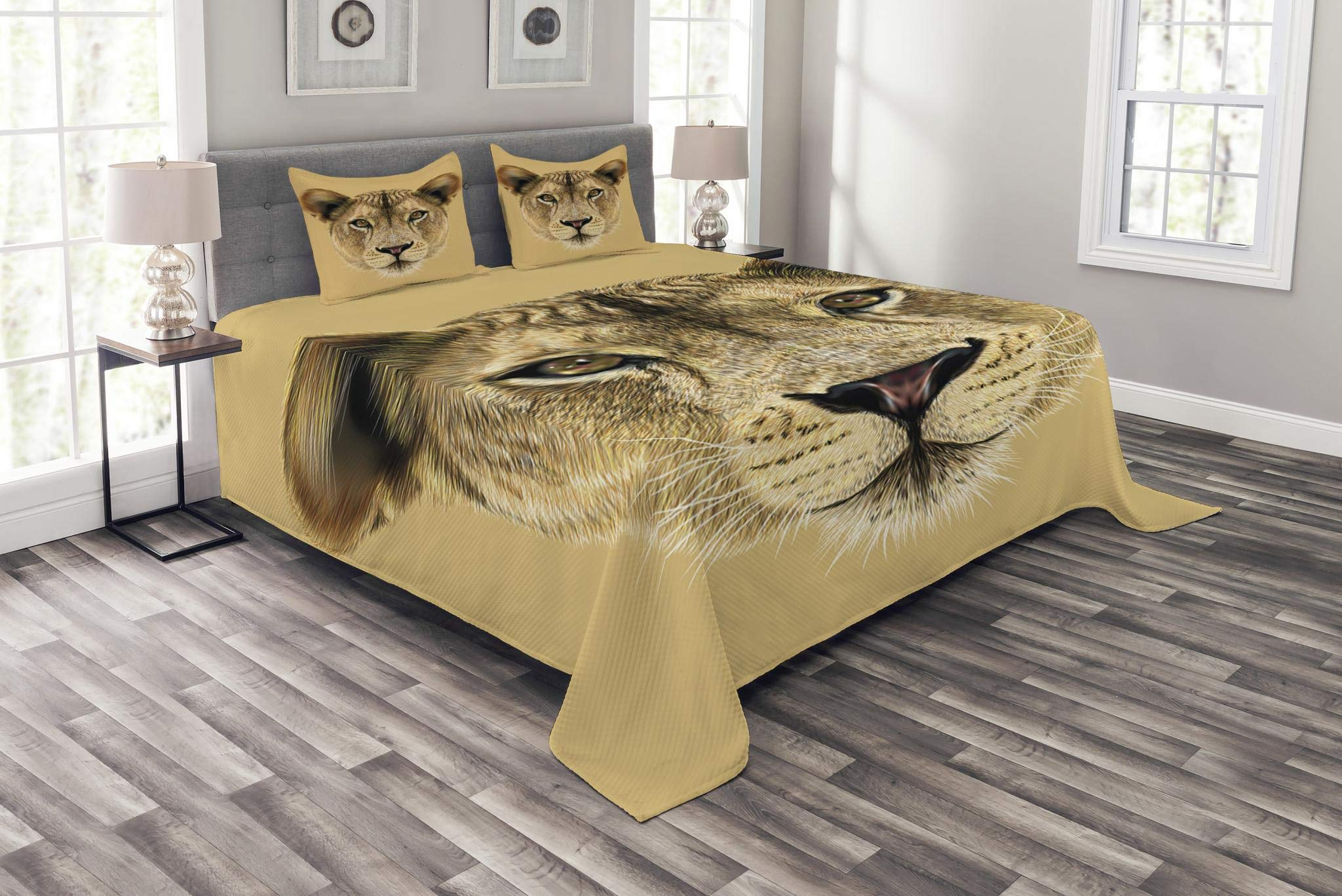 Lunarable Animal Print Bedspread Set King Size, Wildlife Theme Cute Portrait of a Fluffy Lioness Cat Face Pattern, Decorative Quilted 3 Piece Coverlet Set with 2 Pillow Shams, Sand Brown Pale Coffee