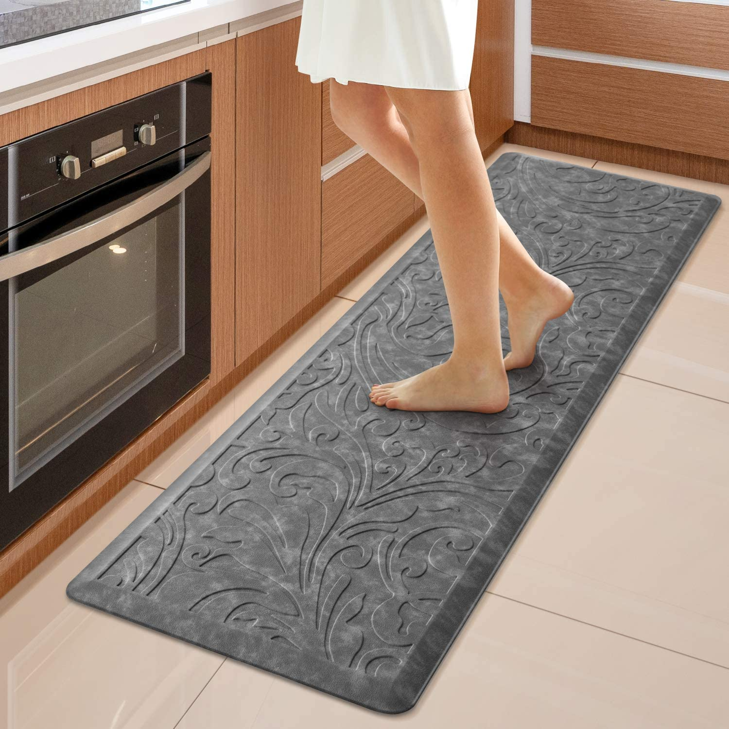 "KMAT Kitchen Mat Cushioned Anti-Fatigue Floor Mat Waterproof Non-Slip Standing Mat Ergonomic Comfort Floor Mat Rug for Home,Office,Sink,Laundry,Desk 17.3"" (W) x 60""(L), Grey"