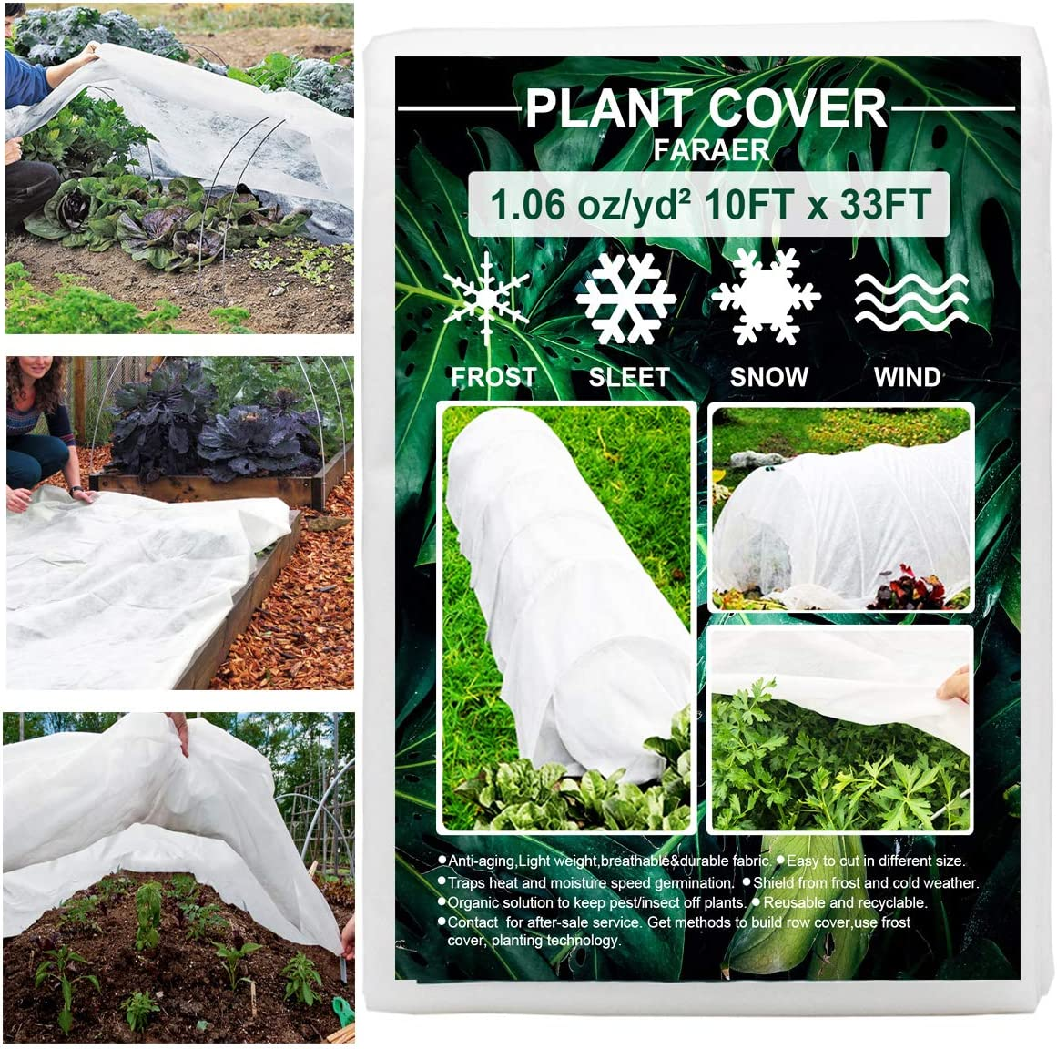Plant Covers Freeze Protection, 10ft×33ft Reusable Rectangle Frost Protection Floating Row Cover Plant Blanket Garden Winterize Cover for Cold Weather Snow