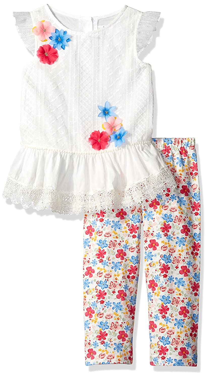 Rare Editions Girls Little Embroidered Top to Floral Legging Set