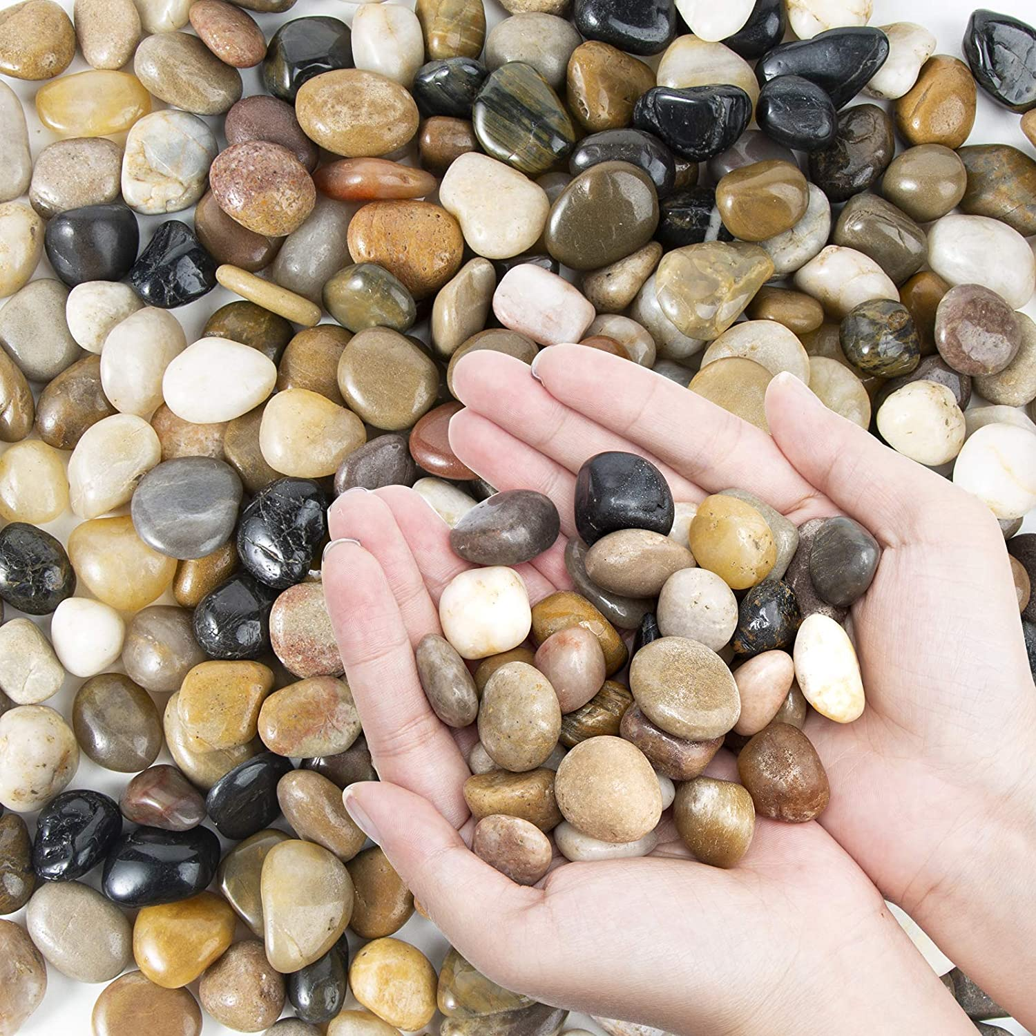 Oupeng Pebbles Polished Gravel Natural Polished Mixed Color Stones Small Decorative River Rock Stones 2 Pounds 32 Oz Garden Outdoor