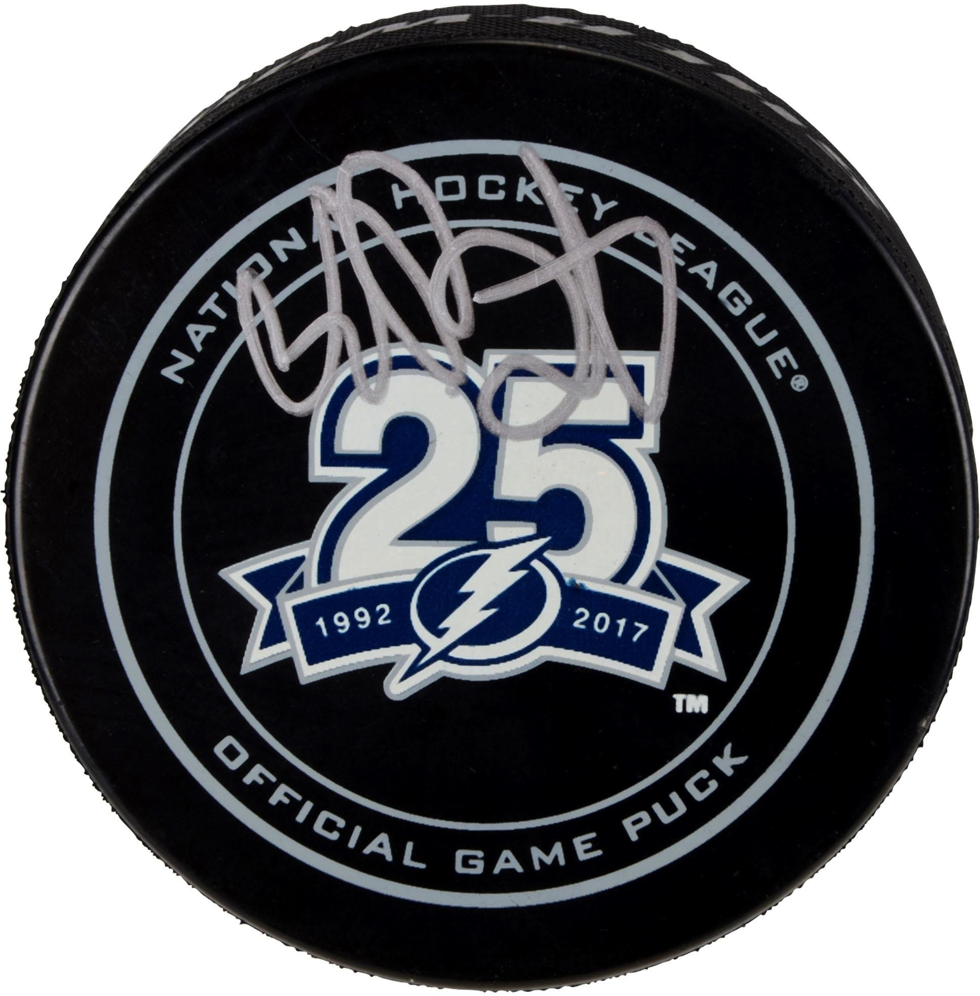 Andrei Vasilevskiy Tampa Bay Lightning Autographed 25th Anniversary Season Official Game Puck Fanatics Authentic Certified