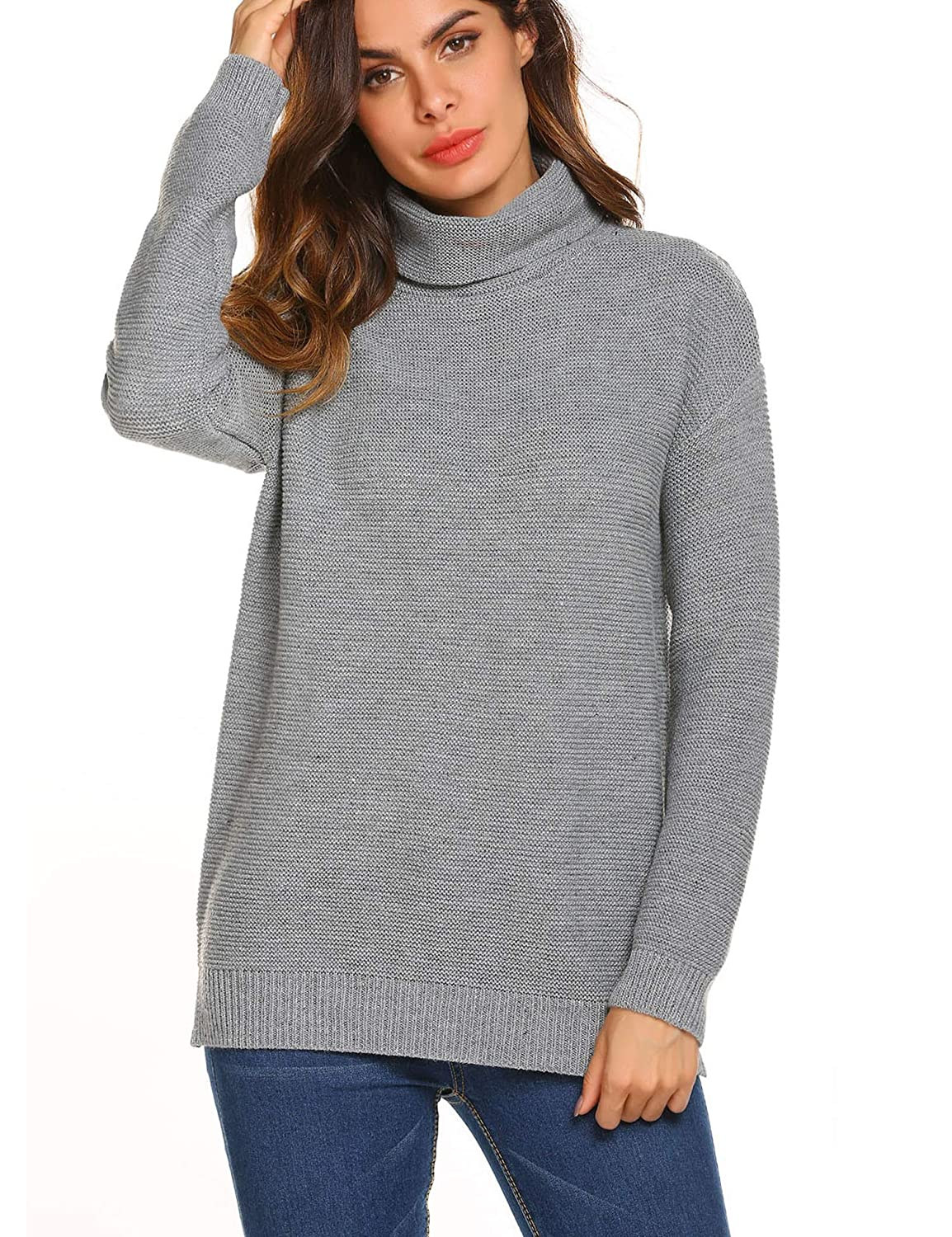 b995d0c2267c2 Teewanna Women s Turtle Cowl Neck Sweater Long Sleeve Loose Knit Pullover  Jumper at Amazon Women s Clothing store