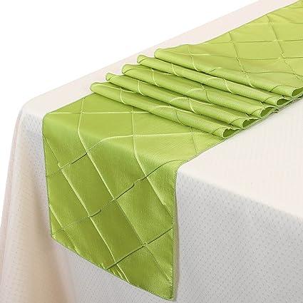 Amazon remedios 5pcs 12x108 inch pintuck table runner wedding remedios 5pcs 12x108 inch pintuck table runner wedding decoration apple green junglespirit Images
