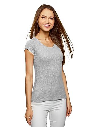 bdd426e9ea3 oodji Ultra Femme T-Shirt Basique avec Encolure Goutte d eau au Dos ...