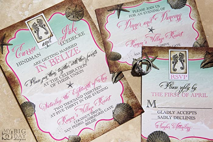 Amazon Com The Tropical Destination Wedding Invitation Sample Set