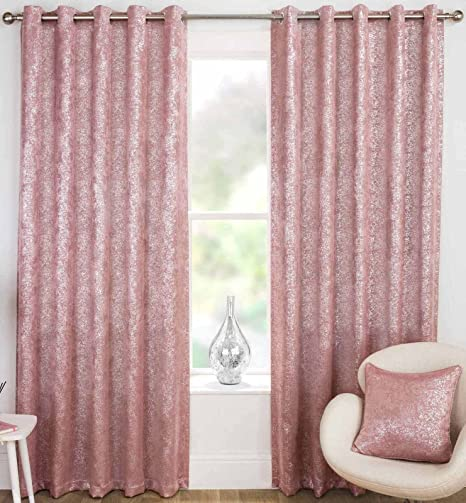 Halo Sparkle Thermal Lined Eyelet Curtains Luxury Glitter Bling Block Out Ready Made