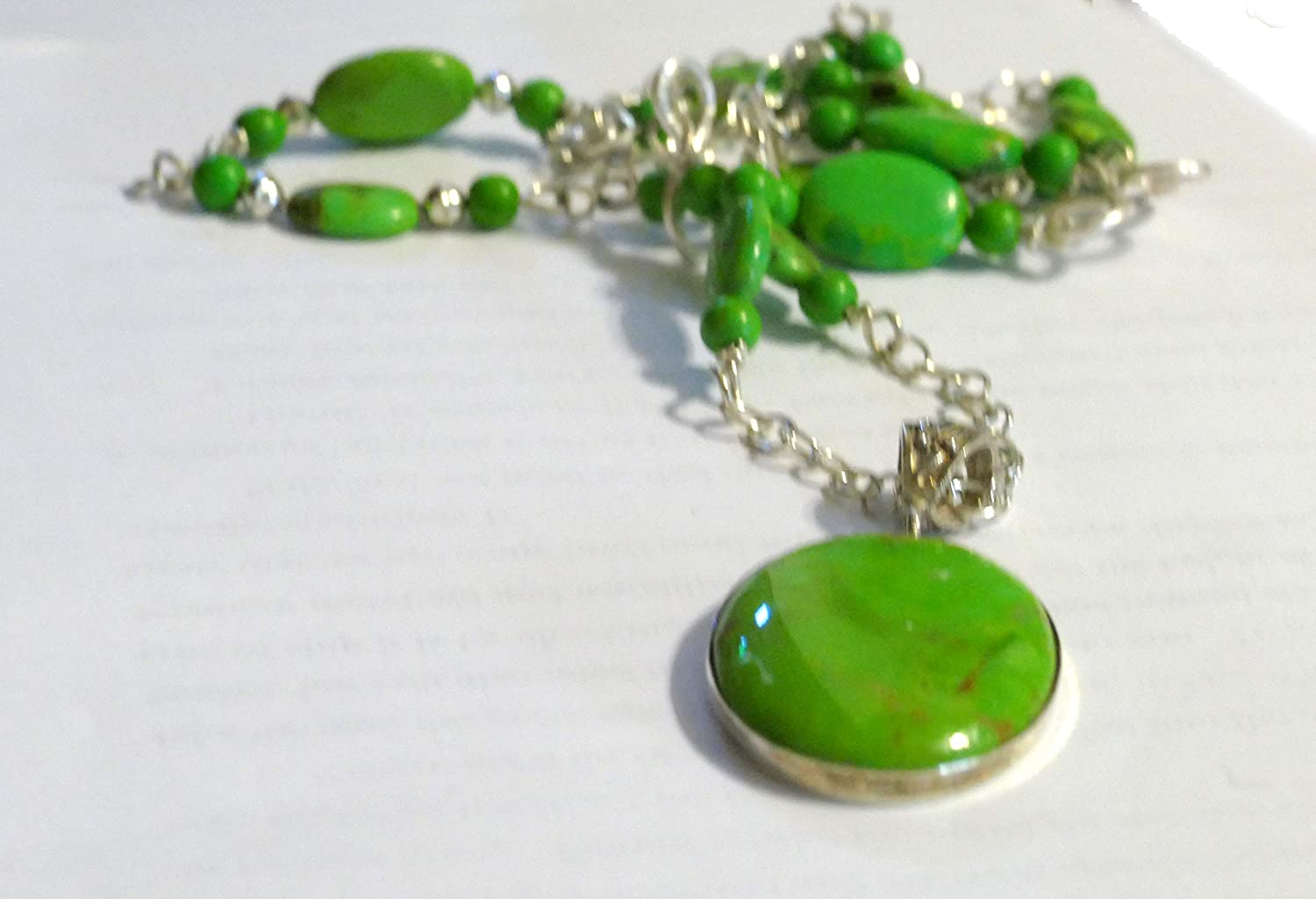 Gemstone Necklace and Earrings Green Turquoise Sterling Silver Jewelry Set