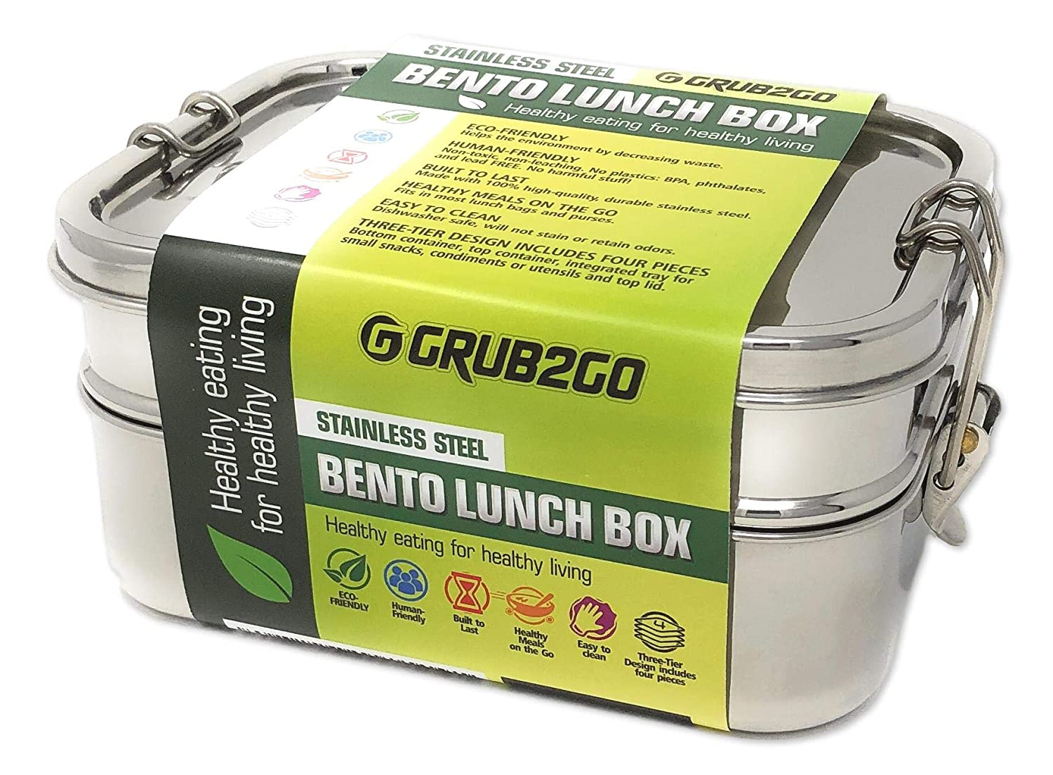 Stainless Steel Bento Lunch Box w/SECURLOCK Lids (Upgraded 2019 Model) by GRUB2GO + FREE FOOD IDEAS GUIDE | Premium 3-Layer 1600 ML Metal Tiffin Container