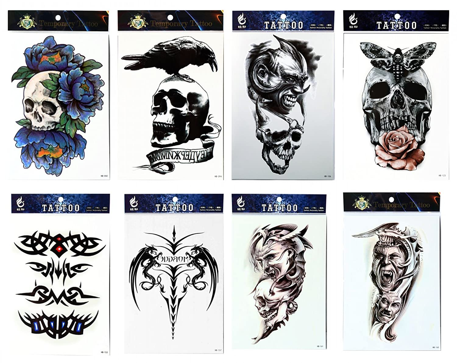 96c432285 Amazon.com : GGSELL GGSELL tattoo 8pcs mixes Halloween temporary tattoos in one  packages, including terrible skulls, totem, skulls with rose and skull with  ...
