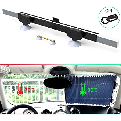 Car Retractable Curtain With UV Protection Front Windshield Visor Auto Shade NEW