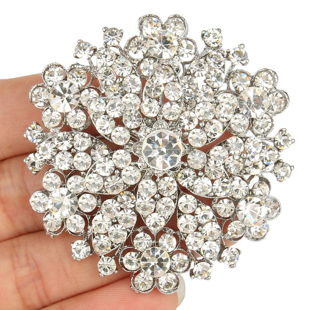 Vintage Style Jewelry, Retro Jewelry EVER FAITH Womens Austrian Crystal Elegant Flower Wedding Corsage Brooch Pin Clear Silver-Tone $9.99 AT vintagedancer.com