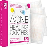 Pimple Patch Acne Treatment (Tea Tree Oil) - 120 Count, Acne-Healing Hydrocolloid Bandages (3 Sizes), Discreet Acne Dots…
