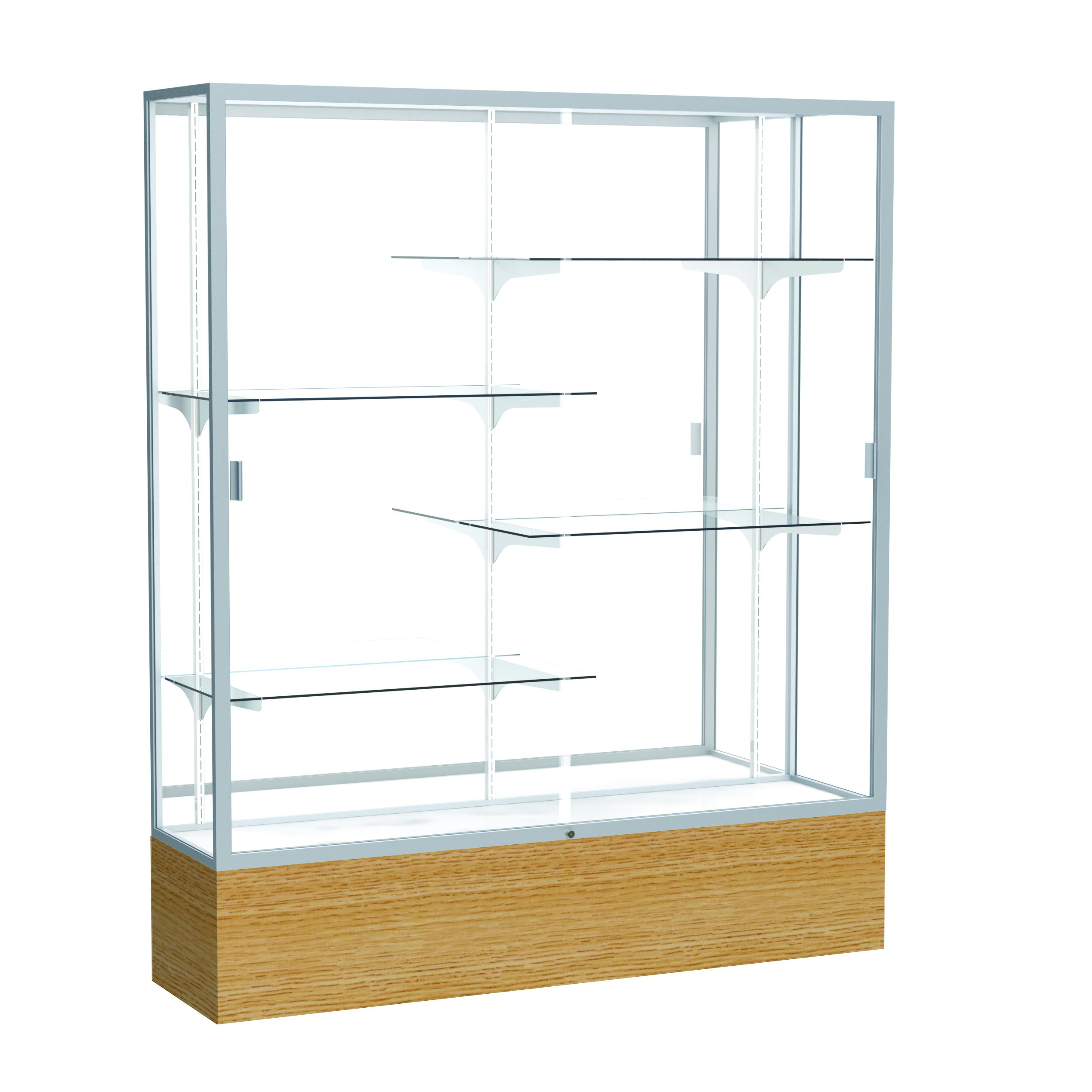 Waddell 2075MB-SN-AK Reliant Floor Display Case, Mirror, 6' by Waddell
