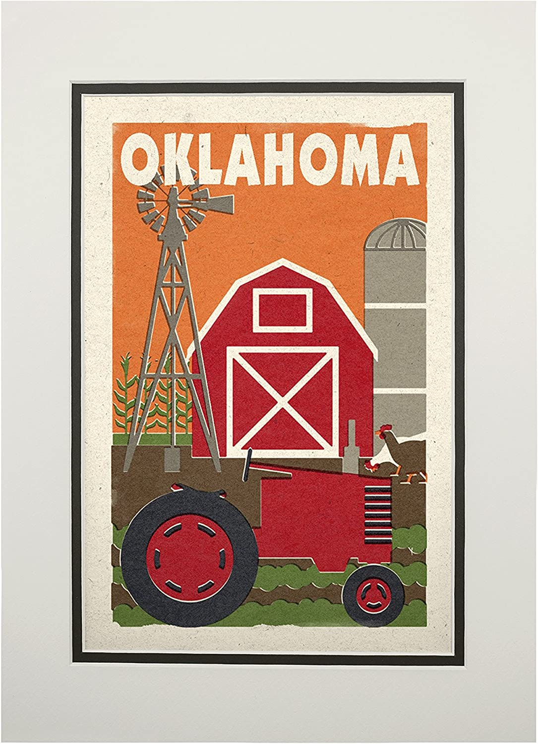 Woodblock Country 24x36 Giclee Gallery Print, Wall Decor Travel Poster Oklahoma