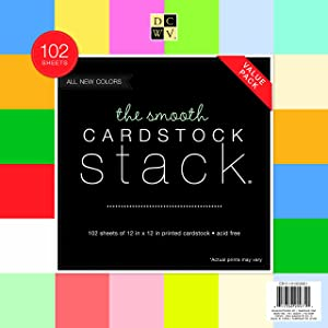 DCWV Cardstock Stack, Value Pack, Assorted Solid Colors, Smooth, 102 Sheets (6 each), 12 x 12 inches