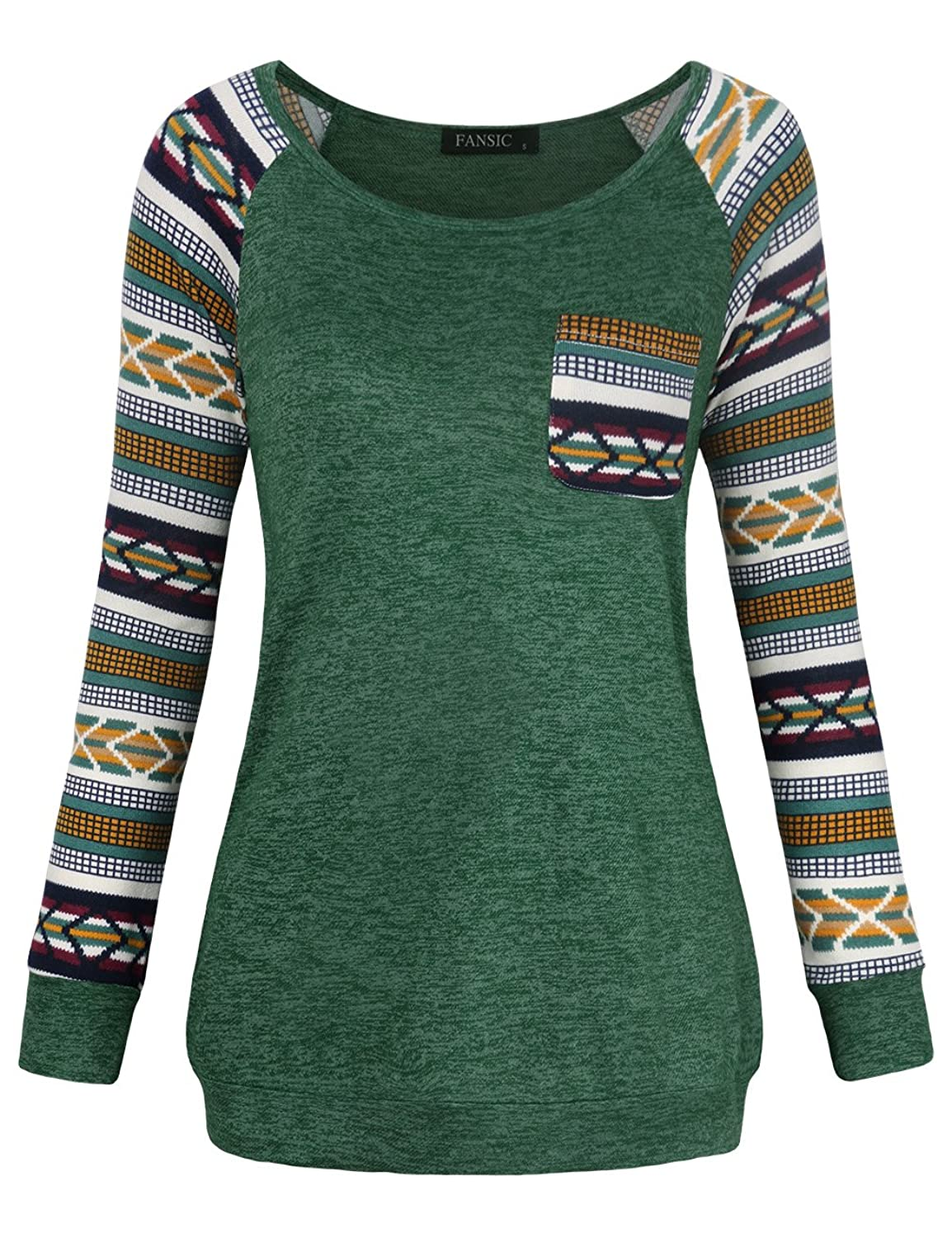 FANSIC Women Casual Long Sleeve Knitted Raglan Shirts Pullover Sweater Tops With Pocket