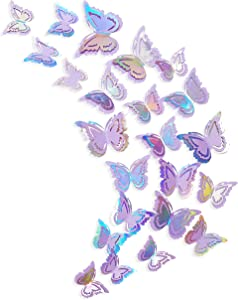 pinkblume Iridescent Purple Butterfly Decorations Stickers Lavender 3D Butterfies Wall Art Removable Wall Decals for Mermaid Unicorn Pastel Home Living Room Baby Bedroom Showcase Nursery Decor (27PCS)