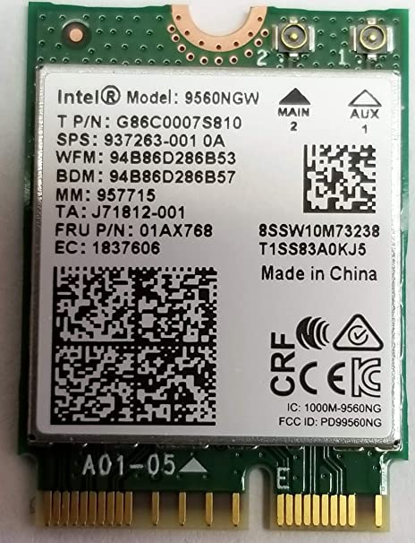 Intel Wireless-AC 9560, M 2 2230, 2X2 Ac+Bt, Gigabit, No Vpro