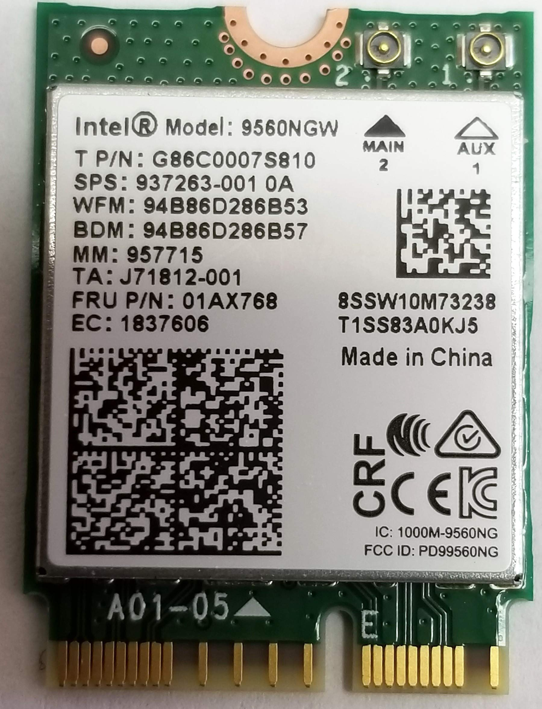 Intel Wireless-ac 9560, M.2 2230, 2x2 Ac + Bt, Gigabit, Sin Vpro