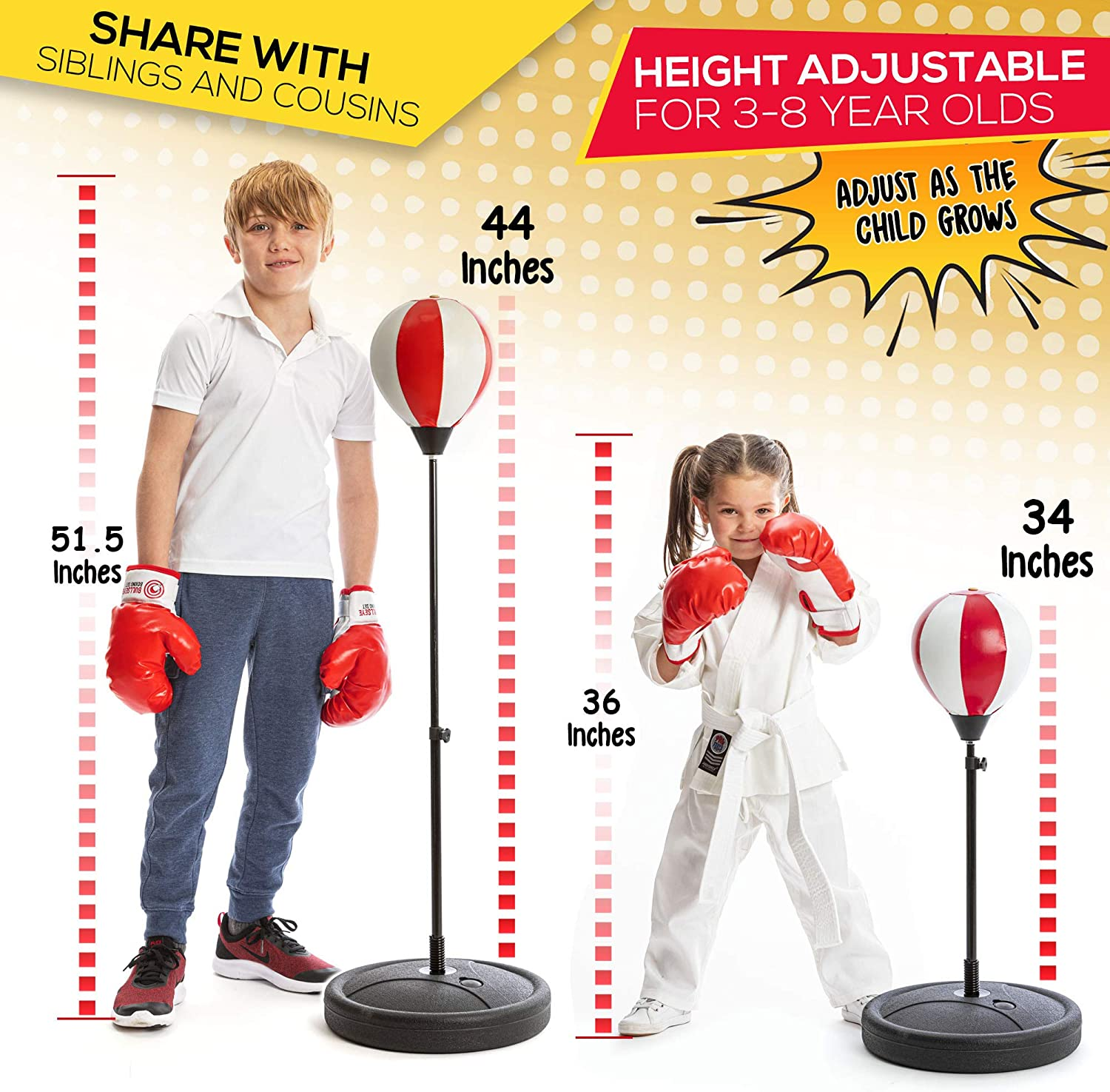 whoobli Punching Bag for Kids Incl Boxing Gloves3-8 Years Old Adjustable