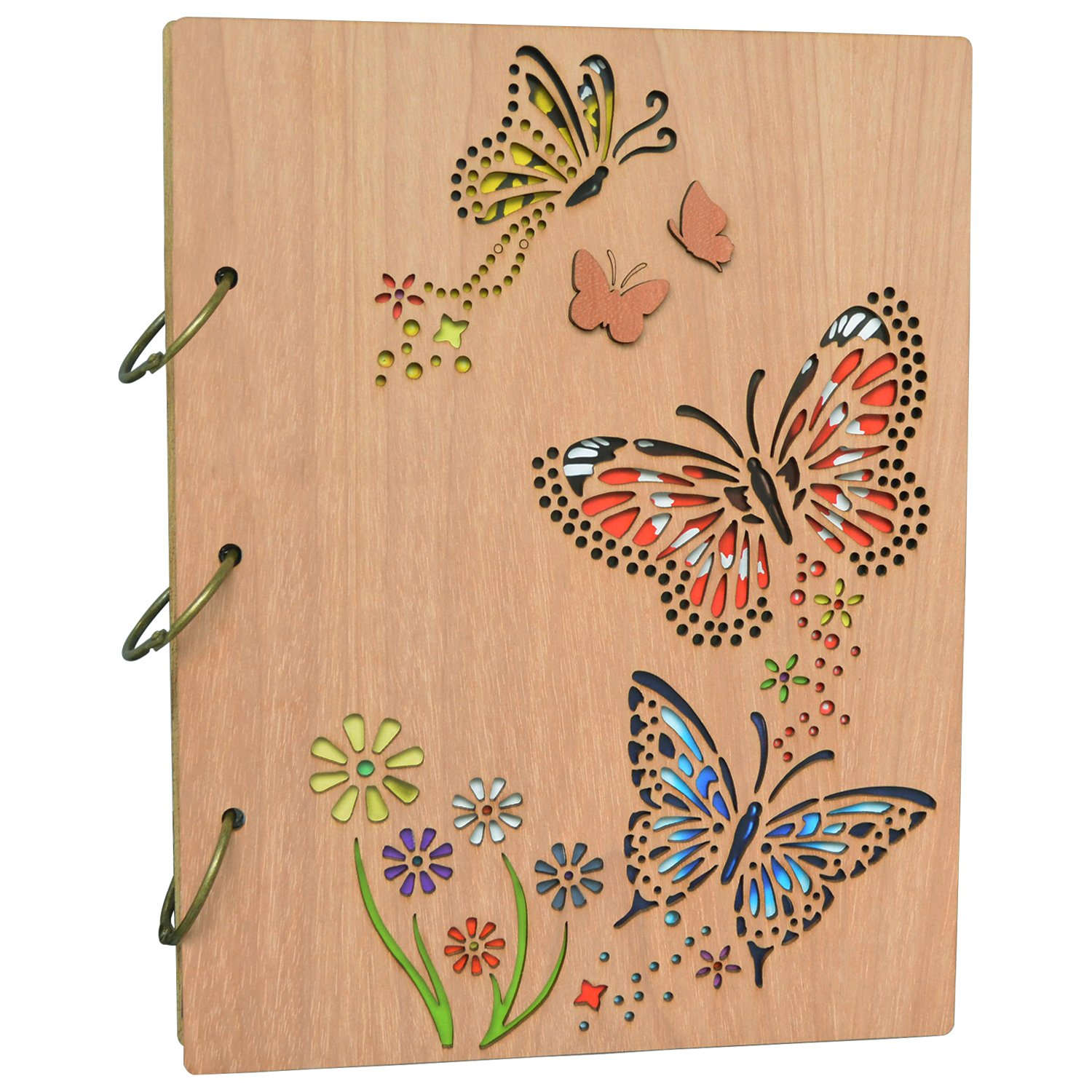 PETAFLOP 5x7 Photo Album Book Butterfly Themed Photo Albums 120 Pockets 3 Ring Binder