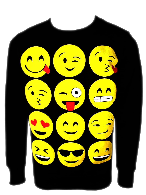 Girls Emoji Sweatshirt New Kids Emoticons Smiley Face Jumper Top Pants Ages 5-13