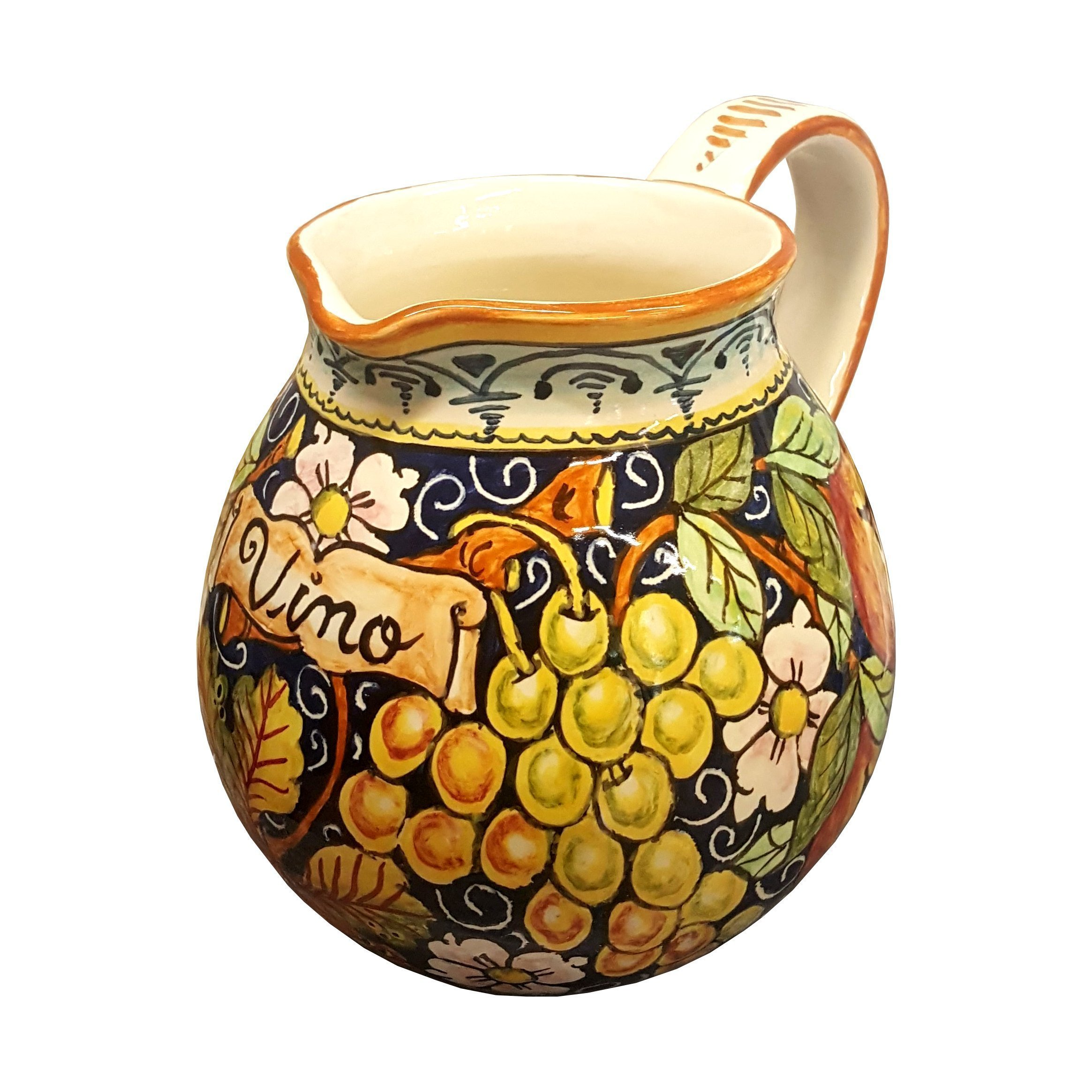 CERAMICHE D'ARTE PARRINI - Italian Ceramic Art Pottery Vase Jar Vessel Pitcher Vino Vine Hand Painted Decorated Fruit Made in ITALY Tuscan