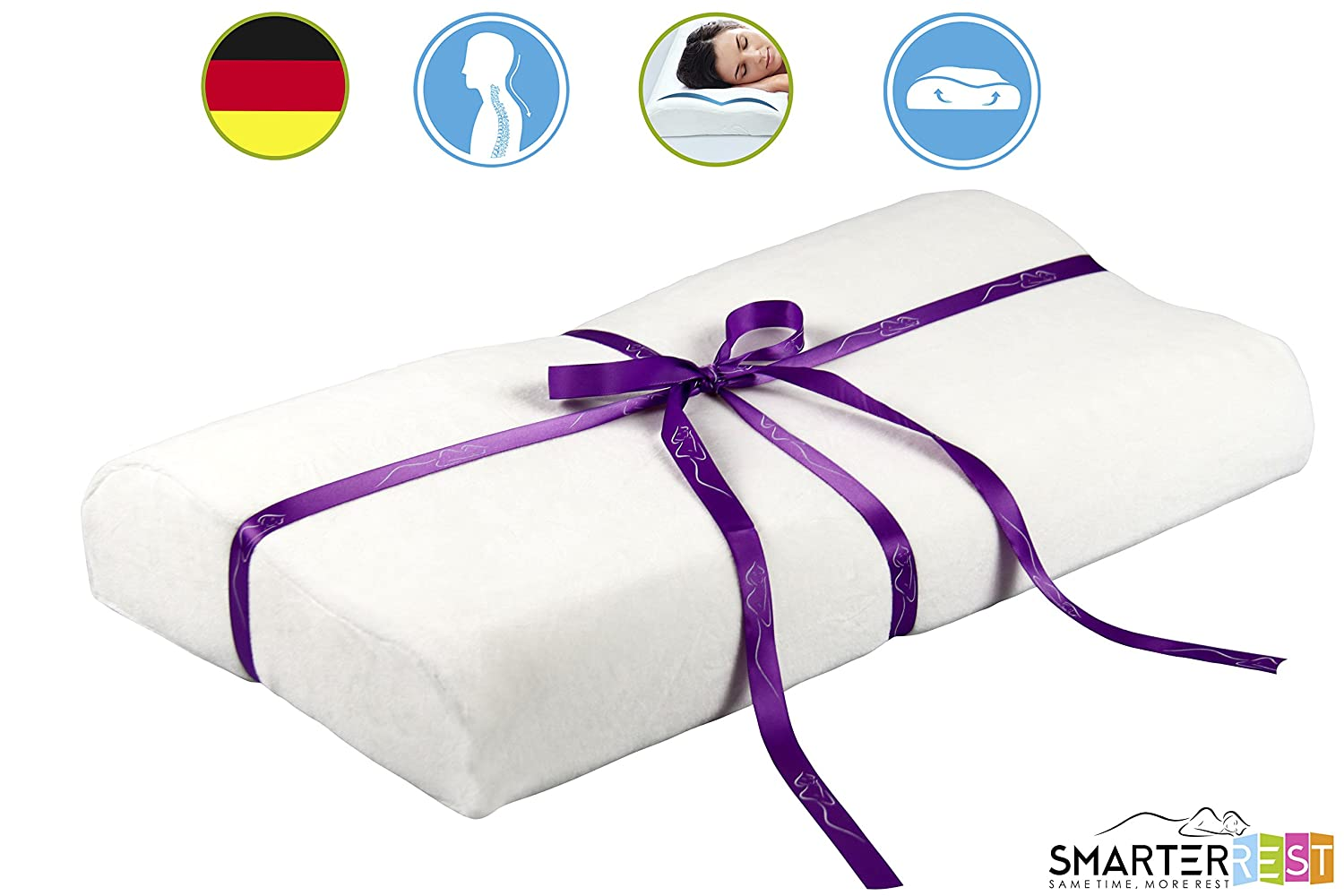 Memory Foam Pillow Contour for Back Pain, Neck and Travel