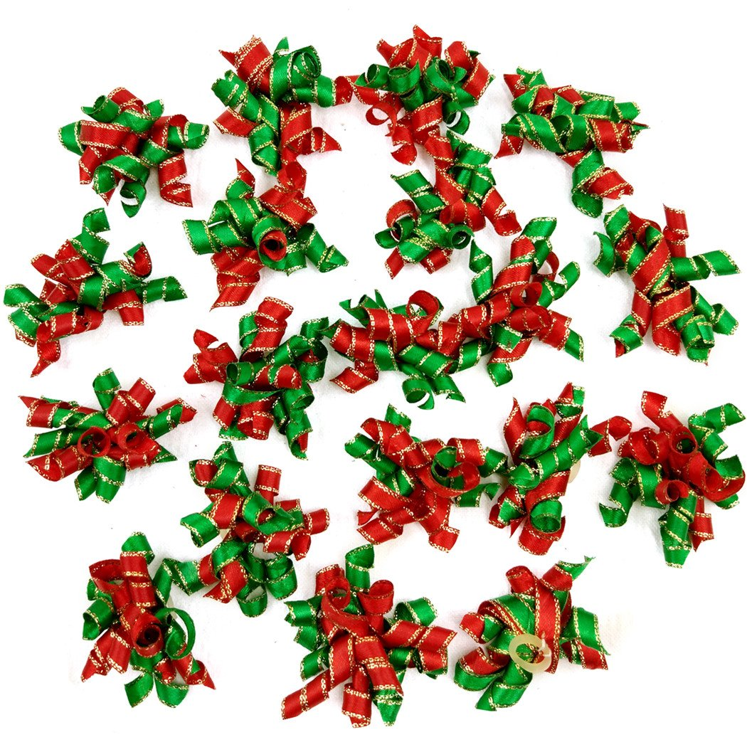 Hixixi 20pcs/Pack Pet Dog Cat Xmas Hair Bows Puppy Grooming Bows Christmas Hair Accessories Rubber Bands (A#)