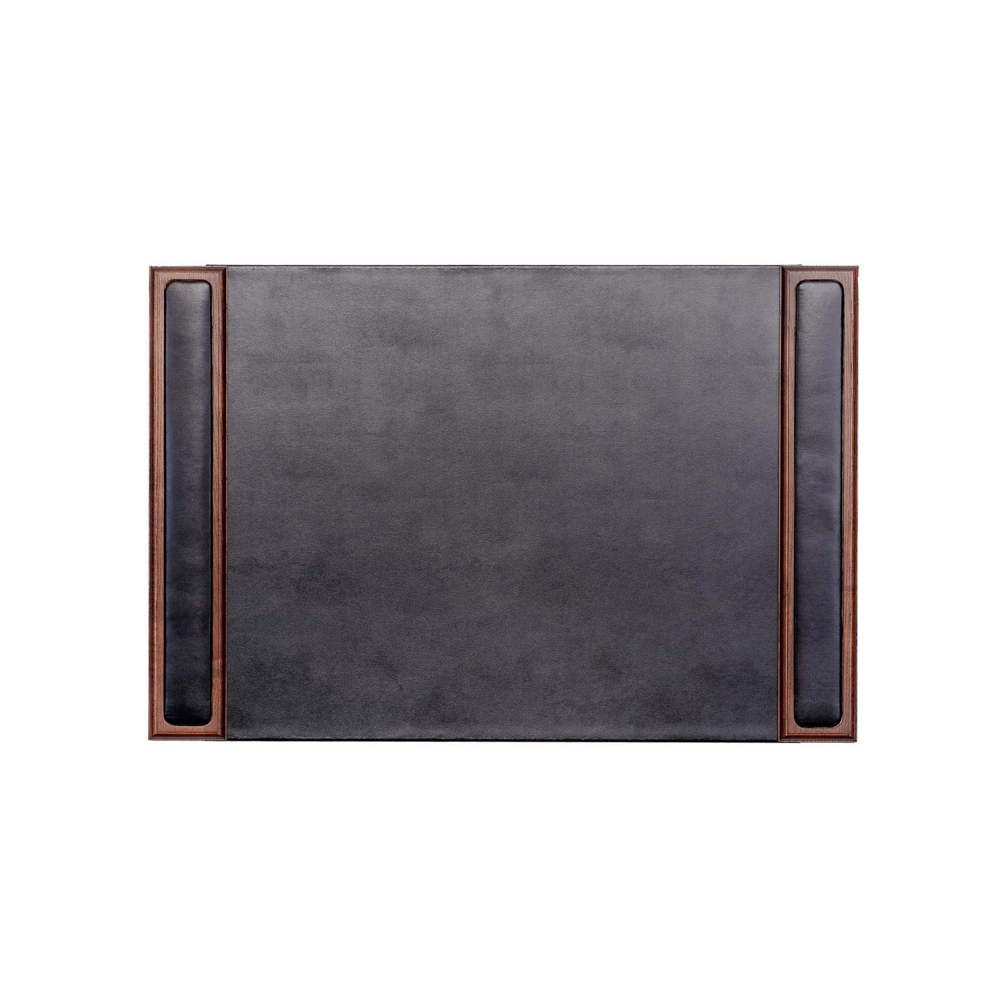 Dacasso Walnut and Leather Desk Pad with Side-Rails,25.5 by 17.25 Inch by Dacasso