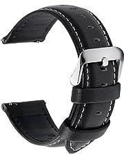 Fullmosa 12 Colori per Cinturini di Ricambio, Axus Pelle Cinturino/Cinturini/Braccialetto/Band/Strap di Ricambio/Sostituzione per Watch/Orologio 14/16/18/19/20/22/24mm, Nero 22mm