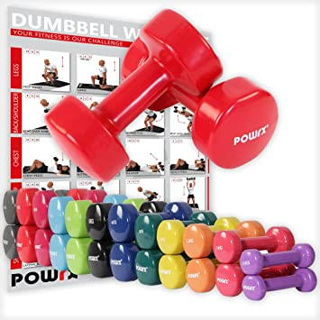 POWRX - Mancuernas Vinilo 18 kg Set (2 x 9 kg) + PDF Workout (Rojo Oscuro): Amazon.es: Deportes y aire libre