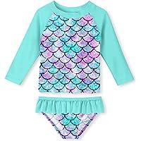 UNIFACO Toddler Girls Swimsuit Rashguard Set Summer Beach Breathable Tankini with UPF 50+ Sun Protection 2-6T