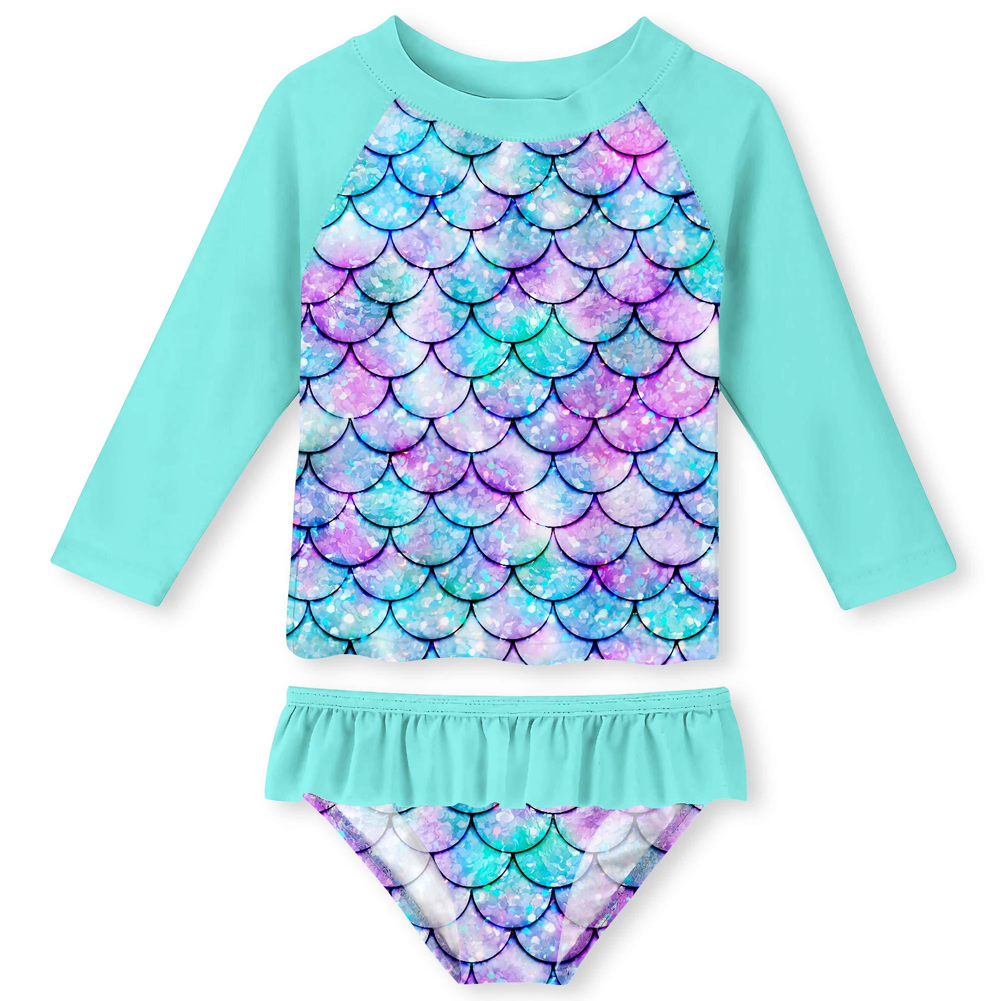 UNIFACO Toddler Girls Tankini 3D Fish Scale Stylish Bathing Suit Swimsuit Long Sleeve Shirt and Bikini Bottom by UNIFACO