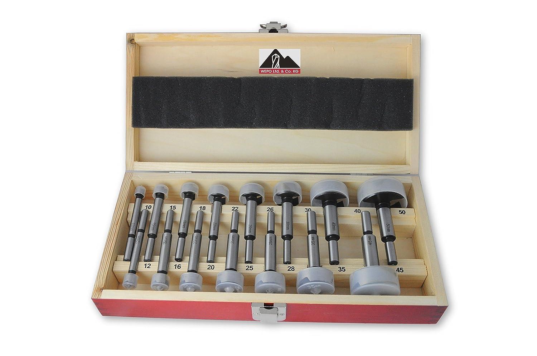 Lot de 15 forets /à bois pr/ésent/és dans une coffret en bois de qualit/é sup/érieure Diam/ètre de 10 /à 50 mm Capuchons de protection inclus