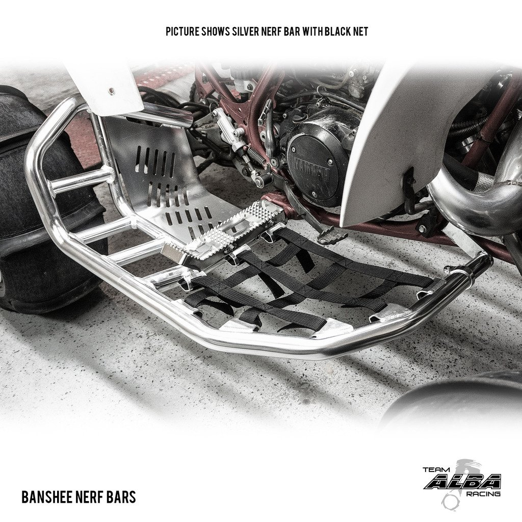 Yamaha Banshee YFZ 350 (1987-2006) Propeg Nerf Bars Silver with Red Net (More Net Color Choices Available) by Alba Racing (Image #1)