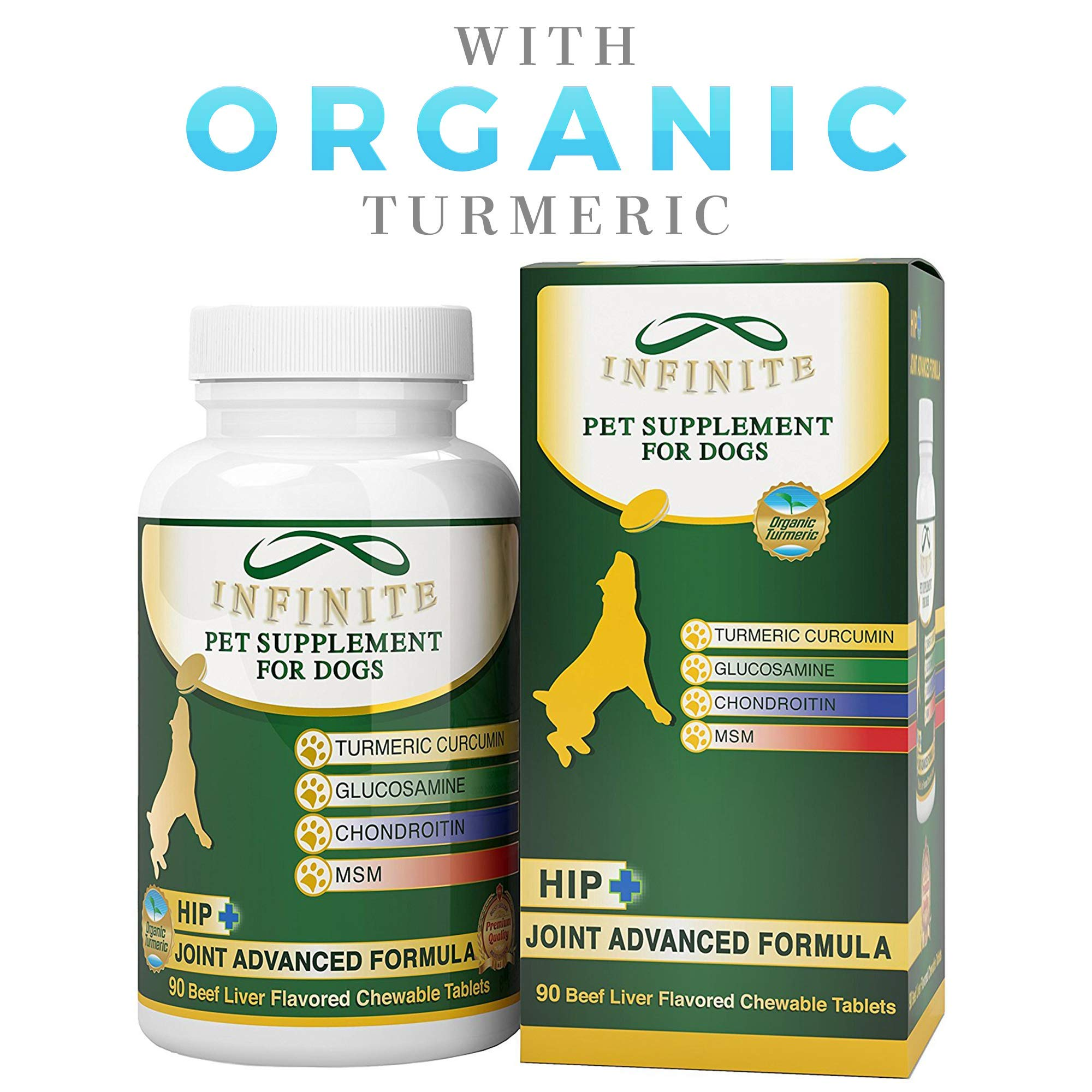 All-Natural Hip & Joint Supplement for Dogs - with Glucosamine, Chondroitin, MSM, and Organic Turmeric - Improves Mobility and Eases Discomfort Best for Large & Small Dog - 90 Chewable Treats by Infinite Pet Supplements
