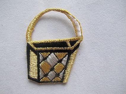 Amazon golden purse lady bag embroidery iron on applique