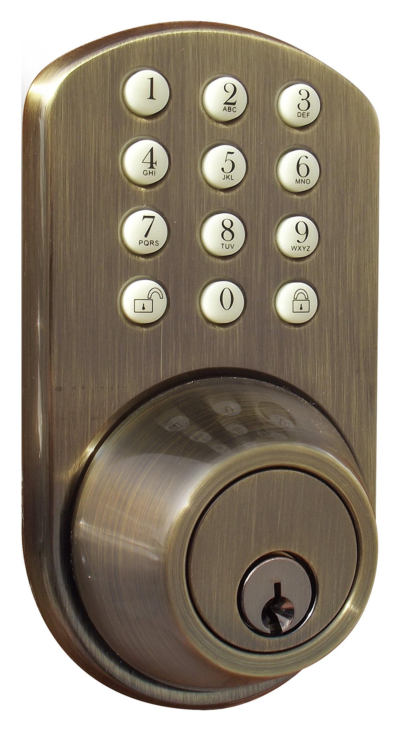 MiLocks TF-02AQ Digital Deadbolt Door Lock with Electronic Keypad for Exterior Doors, Antique Brass