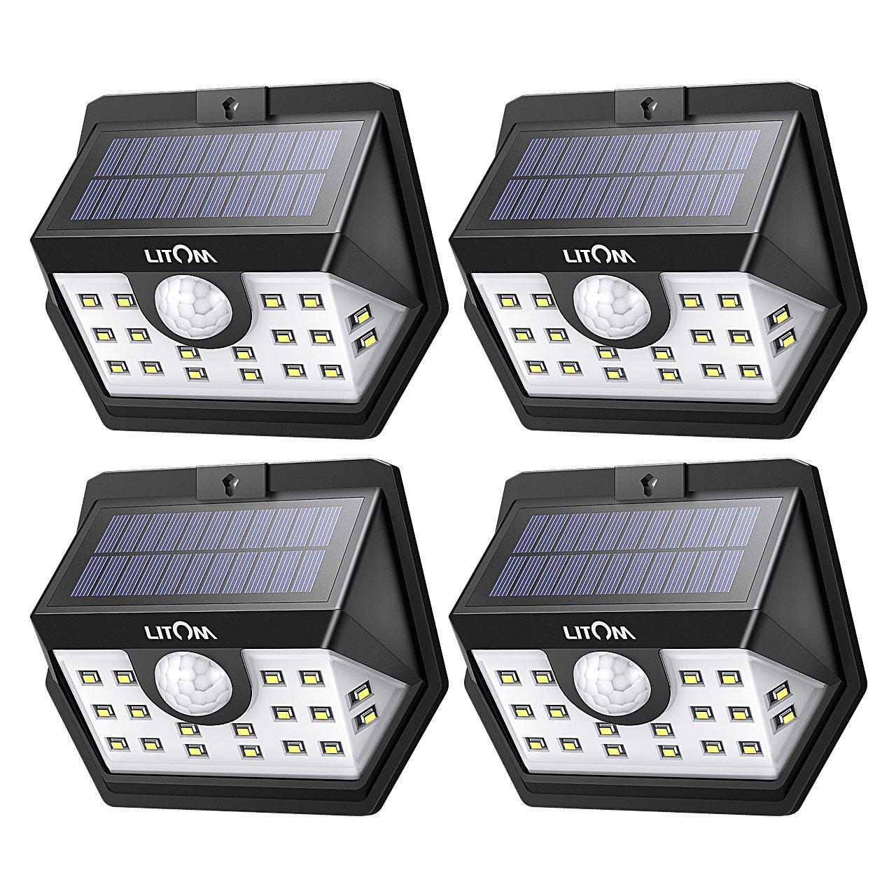 LITOM [Gen-3] Solar Lights Outdoor, 20 LED Wireless Wide Angle Motion Sensor Lights, Heavy Duty IP65 Waterproof Security Solar Light for Front Door, Yard, Garage, Deck, Porch, Shed, Walkway (4 Pack)