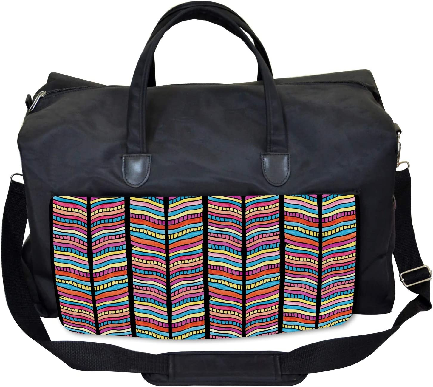 Colorful Rainbow Leaf Ambesonne Abstract Gym Bag Large Weekender Carry-on