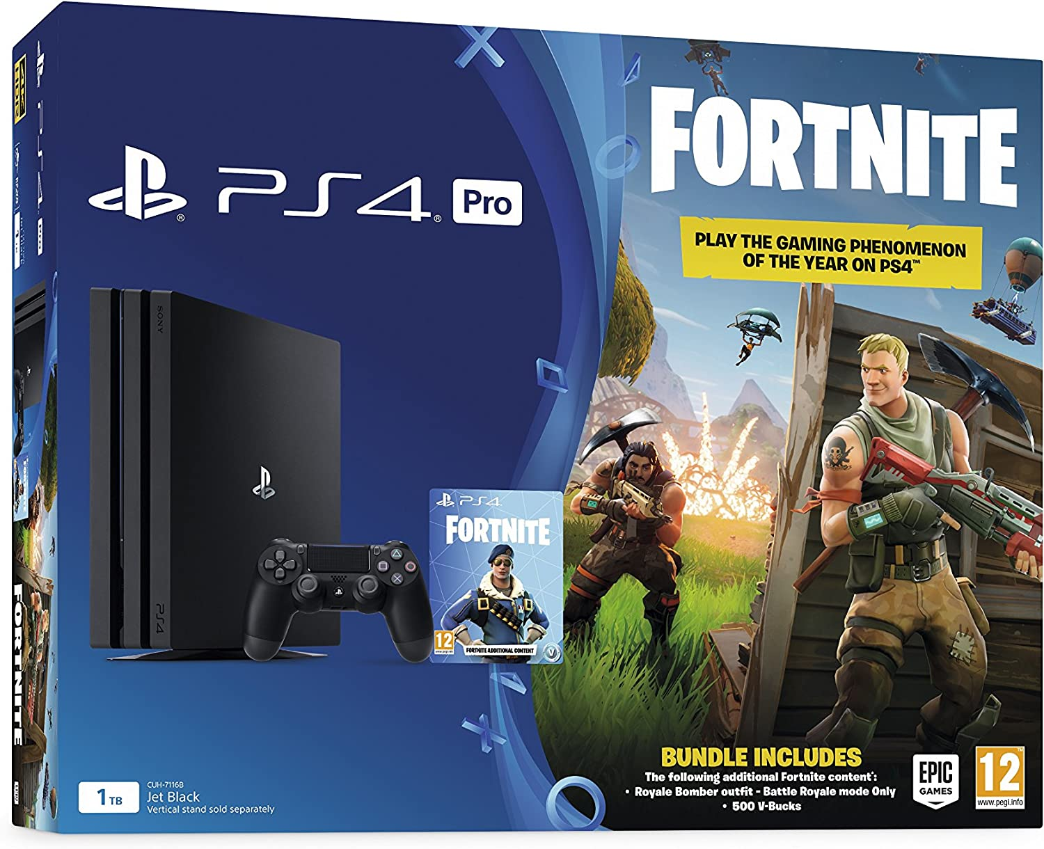PlayStation 4 Pro Console 1TB with Fortnite Royal Bomber Pack ...