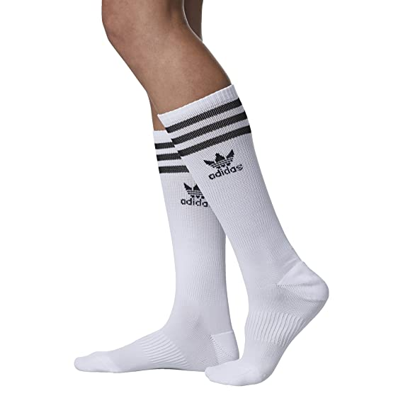 meet ee4c0 54918 Amazon.com  adidas Women s Originals Roller Knee High Socks (1-Pack),  Black White, Medium  Sports   Outdoors