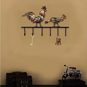 Crafia Decorated Wall Mounted Rooster Shape Iron Key Holder and Key Hooks | Decorative Unique Key Organizer with 6 Hooks