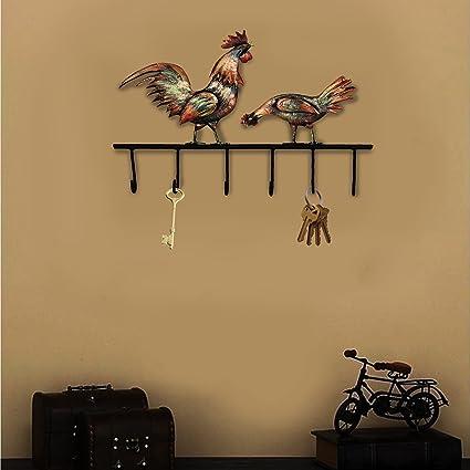 Crafia Decorated Wall Mounted Rooster Shape Iron Key Holder And Key Hooks | Decorative  Unique Key
