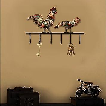 Amazoncom Crafia Decorated Wall Mounted Rooster Shape Iron Key
