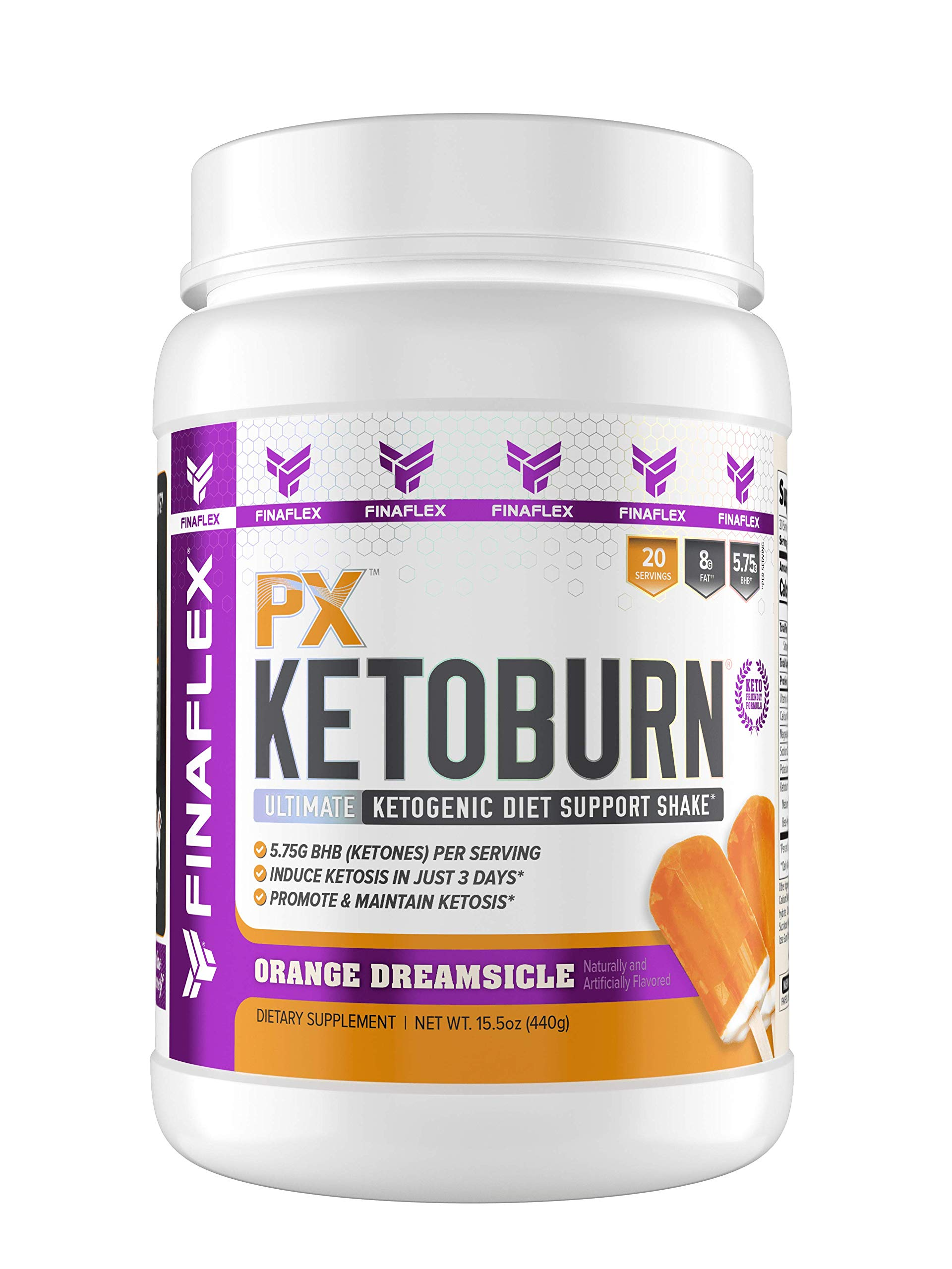 PX Ketoburn, Get in Ketosis in 3 Days, Burn Fat, Ketone Bodies, Macadamia as Fat, Cheat into Keto, Keto Snack, No MCT, No Stomach Discomfort, Ketogenic Diet Friendly (20 Serving, Orange Dreamsicle) by FINAFLEX