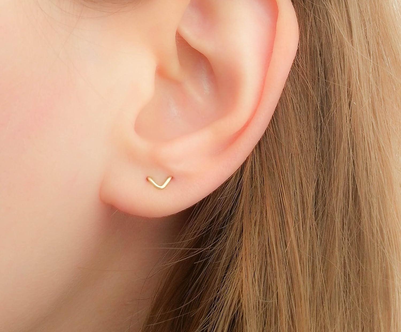 Two Hole Earring Double V Stud Chevron Multiple Lobe Piercing 14k