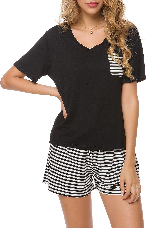 Invug Women Nightwear Short Sleeve Shirt and Shorts Pajama Set V Neck Sleepwear
